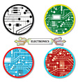 electronic circuit set round-icons vector image vector image