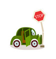 flat vehicle crashed into stop road sign vector image