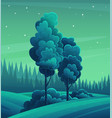 forest night landscape tall tree bushes mixed vector image vector image