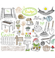 Garden set doodles elements Hand drawn sketch with vector image vector image