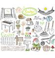 Garden set doodles elements Hand drawn sketch with vector image