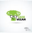geek vegan logo vector image