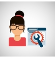 girl working icon vector image vector image