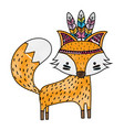 grated cute fox animal with feathers design vector image vector image