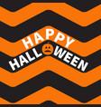 happy halloween text pumpkin smiling face zigzag vector image