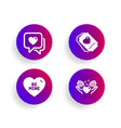 heart be mine and love ticket icons set hold vector image vector image