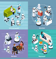 home robots 2x2 isometric design concept vector image vector image