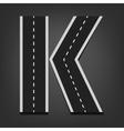 K letter Road font vector image vector image