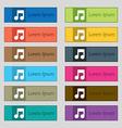 Music note icon sign Set of twelve rectangular vector image