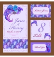 Peacock Feathers Wedding card set Printable vector image