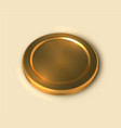 realistic gold coin isolated on light background vector image vector image