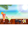 Relax with drinks juice on beach vector image vector image