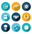 Russian roulette game Icons Set vector image