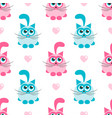 seamless pattern with pink and blue cats vector image vector image