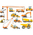 set of detailed heavy construction and mining vector image