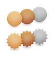 set of wood buttons isolated on white background vector image