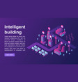 Smart building concept banner isometric style