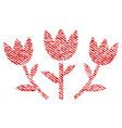 tulip flowers fabric textured icon vector image