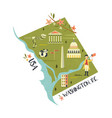 washington map with landmarks and icon vector image vector image