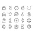 watch charcoal draw line icons set vector image
