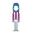 Woman character in flat style with blue hair