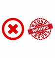 wrong icon with textured wrong stamp vector image vector image