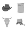 cowboy hat is searched cart bull s skull wild vector image