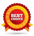 best choice red label with stars ribbons vector image