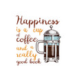 french press or kitchen cooking stuff for menu vector image