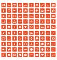 100 athlete icons set grunge orange vector image vector image