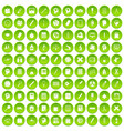 100 learning icons set green vector image vector image