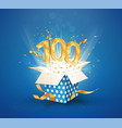 100 th years anniversary and open gift box vector image vector image