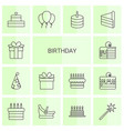 14 birthday icons vector image vector image