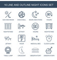 16 night icons vector image vector image