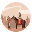 american indian riding a horse vector image vector image