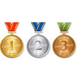 Award gold silver and bronze Medals Set vector image