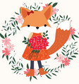 baby fox girl in the floral frame vector image