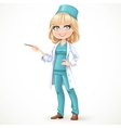 Beautiful girl doctor in surgeon costume and vector image vector image