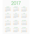 Calendar for 2017 Year on White Background Week vector image vector image