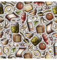 cartoon hand-drawn russian food seamless pattern vector image vector image
