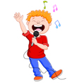 Cartoon singing happily while holding the mic vector image vector image