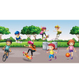 Children playing sports in the park vector image vector image