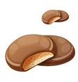 chocolaty coating covered cookies layered with vector image vector image