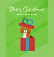 christmas and new year holiday beagle dog card vector image