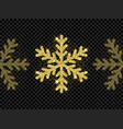 christmas golden snowflake glitter pattern black vector image