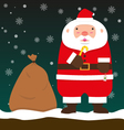 cute fat big Santa Claus stand with Christmas bag vector image vector image