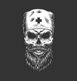 doctor skull with beard and mustache vector image