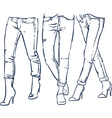 Drawing womens fashionable denim jeans outline vector image vector image