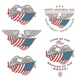 Eagle flying with American flag vector image vector image