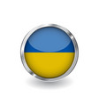 flag of ukraine button with metal frame and vector image vector image